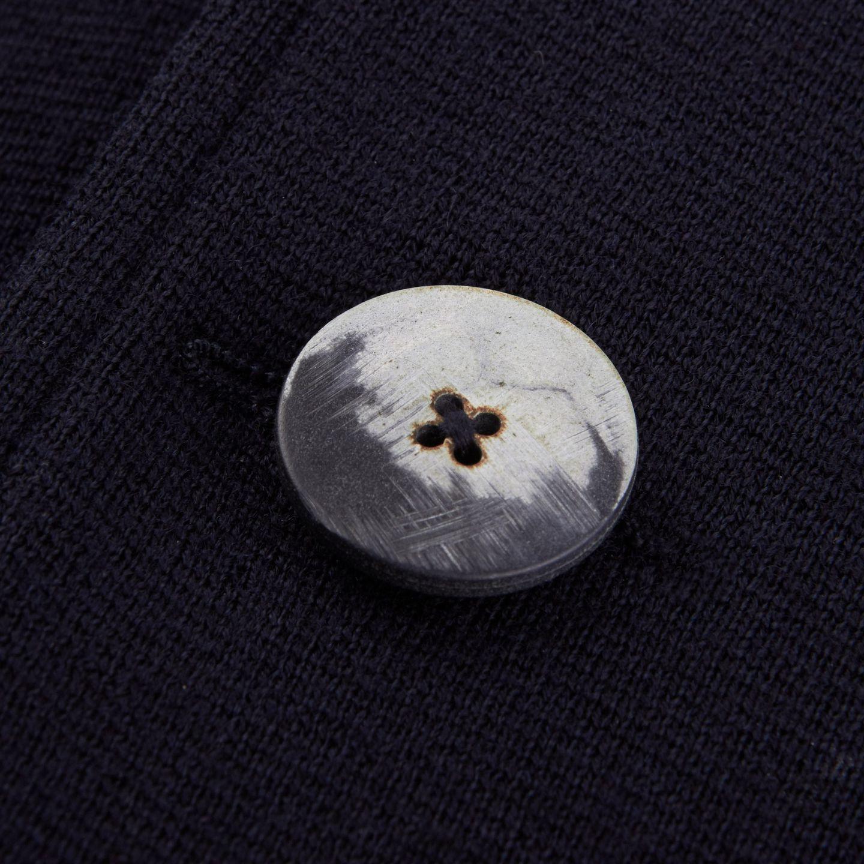 Maurizio Baldassari Navy Knitted Wool Blazer Button