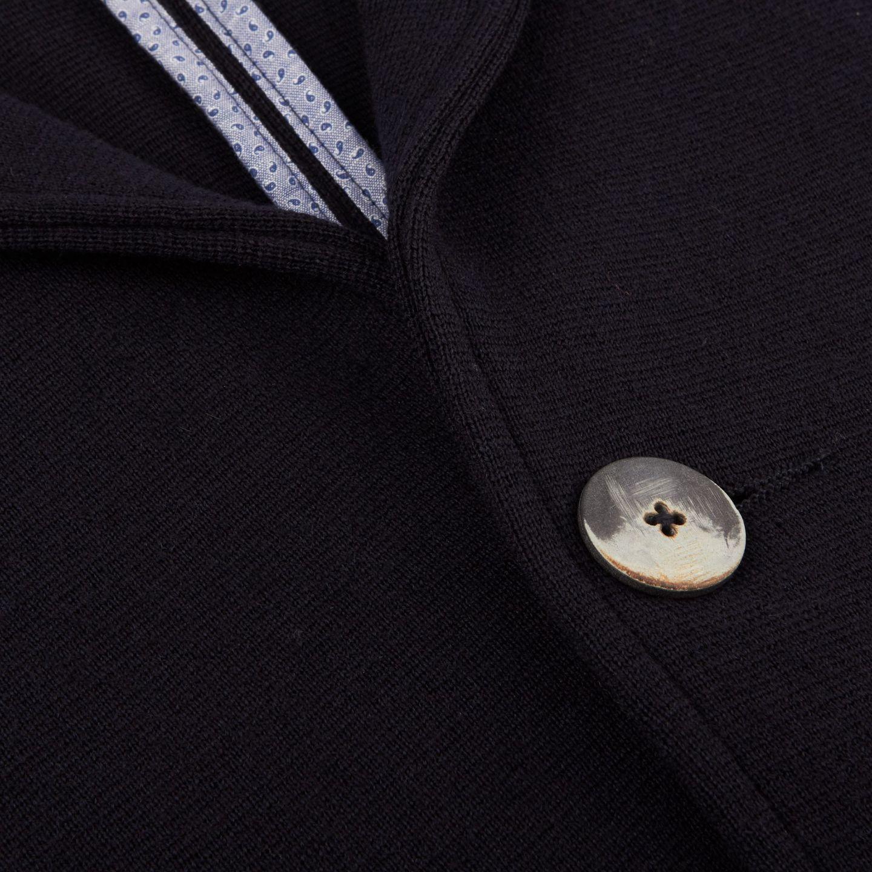 Maurizio Baldassari Navy Knitted Wool Blazer Closed
