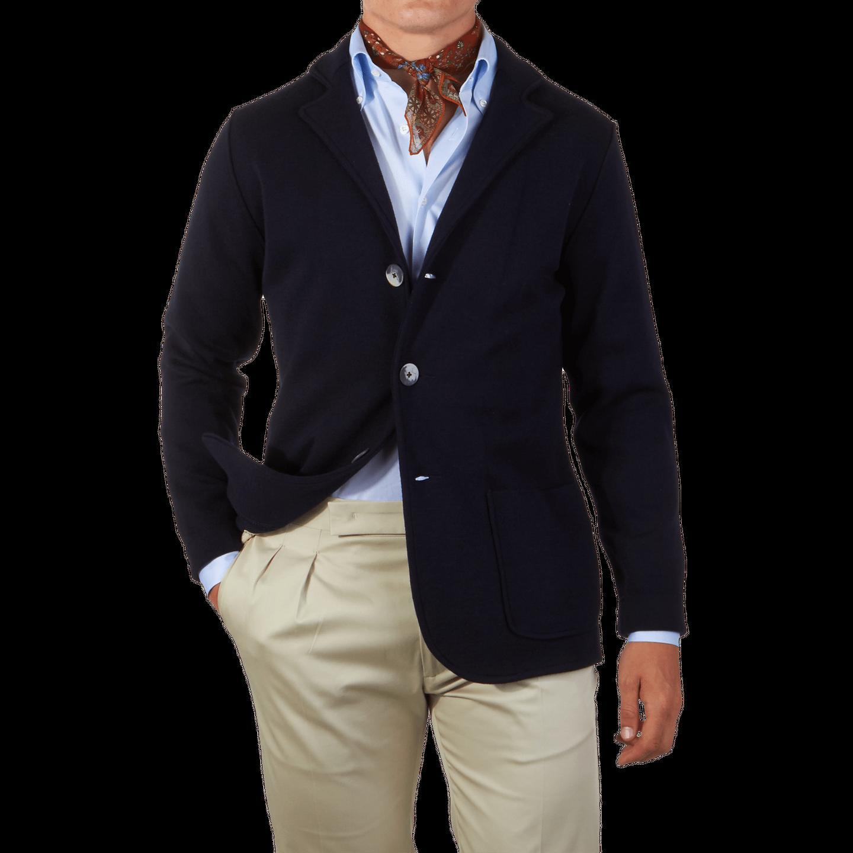 Maurizio Baldassari Navy Knitted Wool Blazer Front