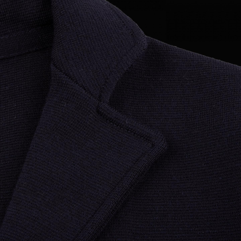 Maurizio Baldassari Navy Knitted Wool Blazer Lapel