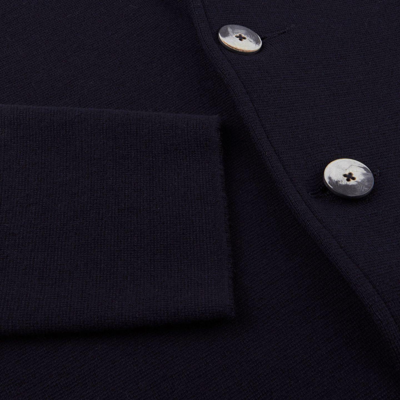 Maurizio Baldassari Navy Knitted Wool Blazer Sleeve