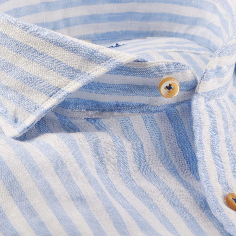 Stenströms Blue Striped Linen Cut-Away Slimline Shirt Collar