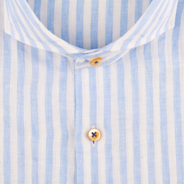 Stenströms Blue Striped Linen Cut-Away Slimline Shirt Fabric