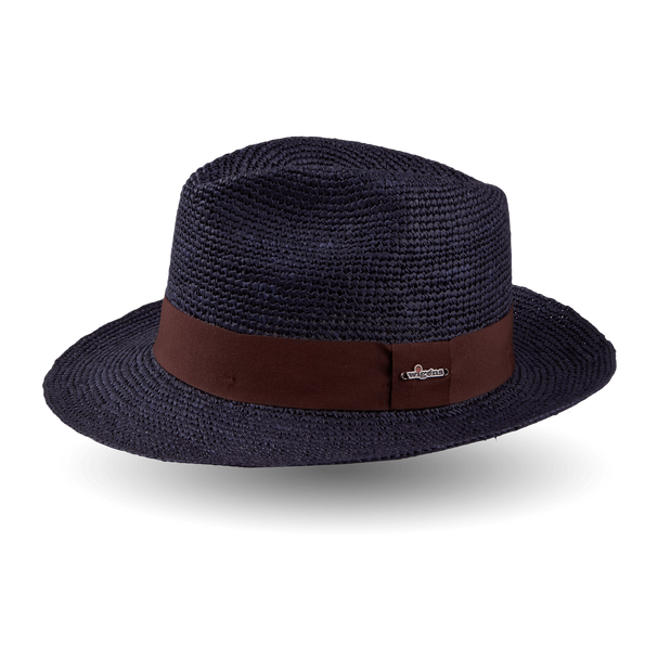 Wigéns Handwoven Fedora Panama Hat Brown Ribbon Large Brim Feature