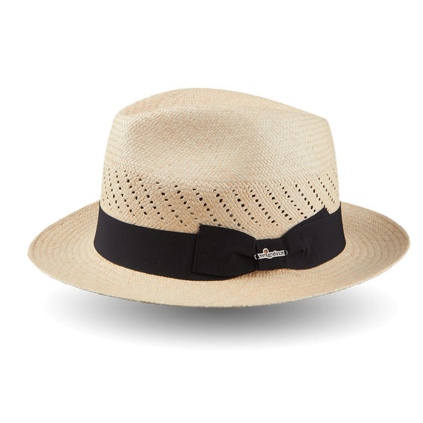 Wigéns Handwoven Trilby Panama Hat Black Ribbon Small Brim Feature