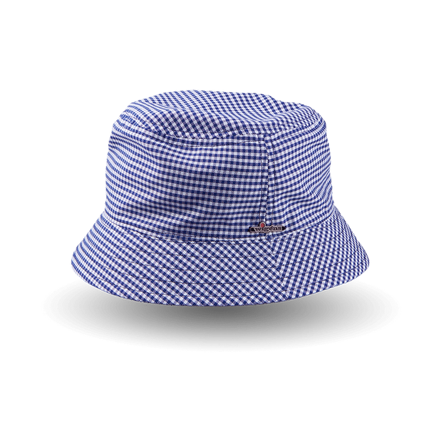 Wigéns Navy Houndstooth Cotton Bucket Hat Fabric Feature