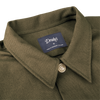 Drake's Green Cotton Overshirt Collar