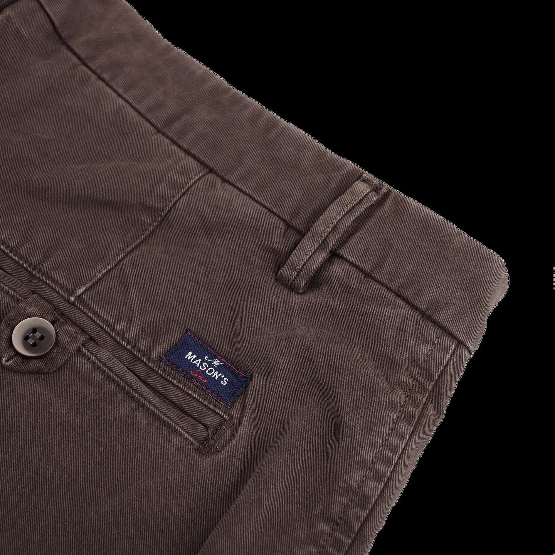 Mason's Brown Milano Washed Cotton Chinos Pocket