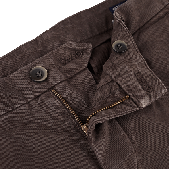 Mason's Brown Milano Washed Cotton Chinos Zipper