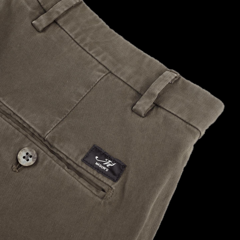 Mason's Green Milano Washed Cotton Chinos Pocket
