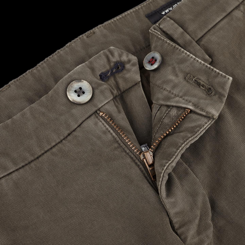 Mason's Green Milano Washed Cotton Chinos Zipper