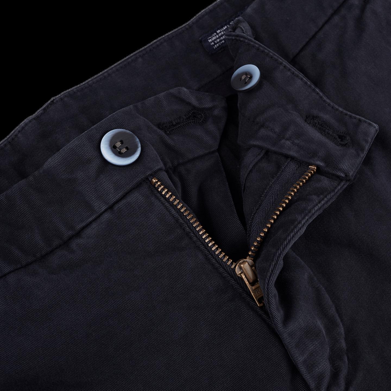 Mason's Navy Milano Washed Cotton Chinos Zipper