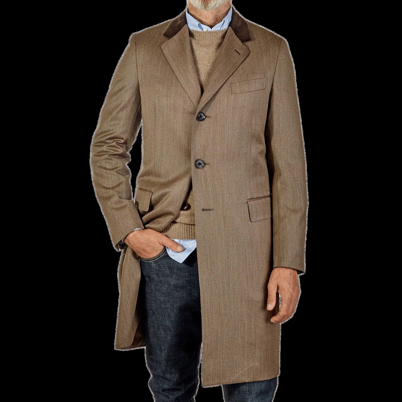 Caruso Beige Coat Front