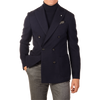 Lardini Navy Wool Hopsack Double Breasted Blazer Front