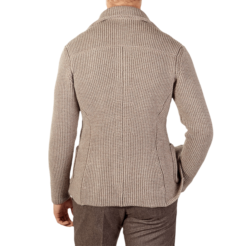 Maurizio Baldassari Beige Heavy Knitted Wool Brenta Jacket Back