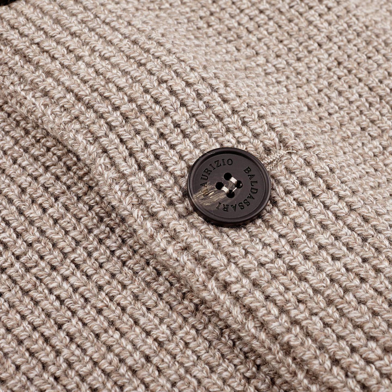 Maurizio Baldassari Beige Heavy Knitted Wool Brenta Jacket Button
