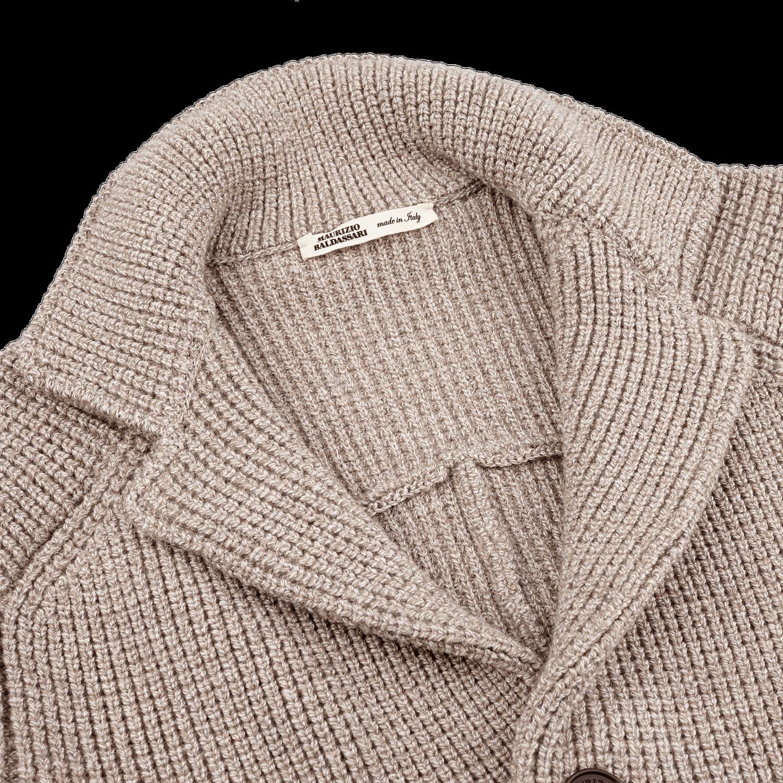 Maurizio Baldassari Beige Heavy Knitted Wool Brenta Jacket Collar