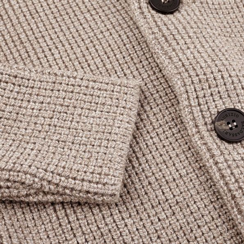 Maurizio Baldassari Beige Heavy Knitted Wool Brenta Jacket Cuff