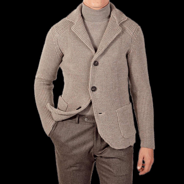 Maurizio Baldassari Beige Heavy Knitted Wool Brenta Jacket Front