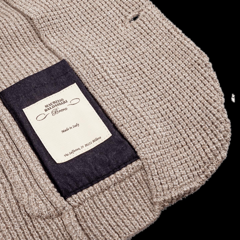 Maurizio Baldassari Beige Heavy Knitted Wool Brenta Jacket Inside
