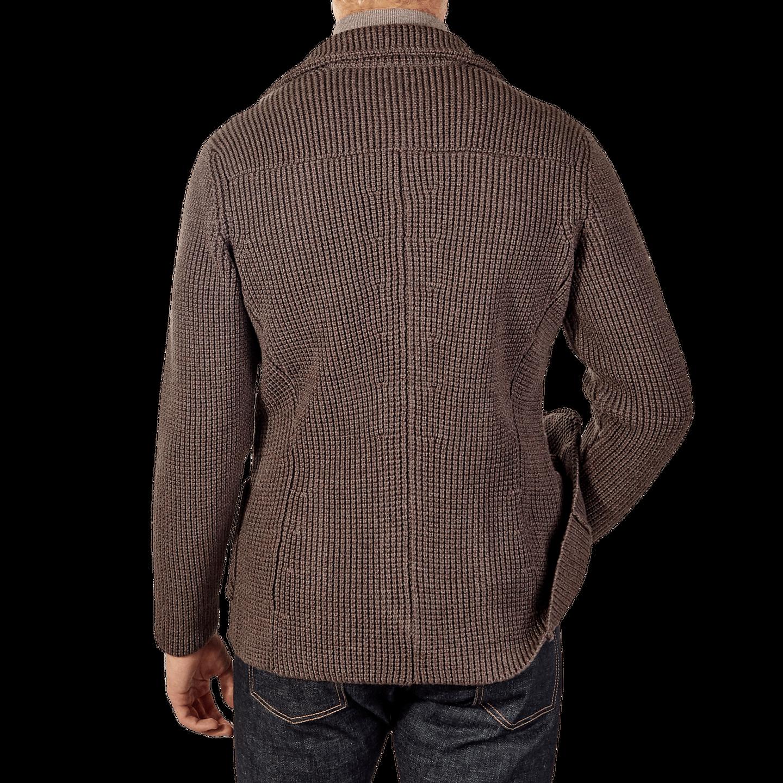 Maurizio Baldassari Brown Heavy Knitted Wool Brenta Jacket Back