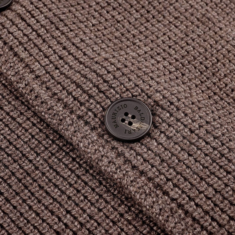 Maurizio Baldassari Brown Heavy Knitted Wool Brenta Jacket Button