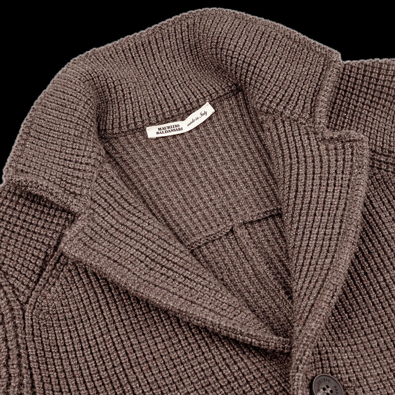 Maurizio Baldassari Brown Heavy Knitted Wool Brenta Jacket Collar