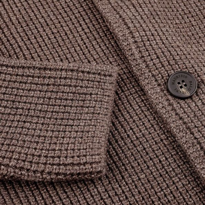 Maurizio Baldassari Brown Heavy Knitted Wool Brenta Jacket Cuff