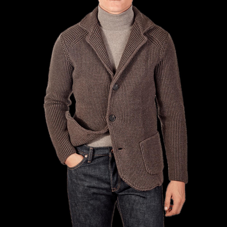 Maurizio Baldassari Brown Heavy Knitted Wool Brenta Jacket Front