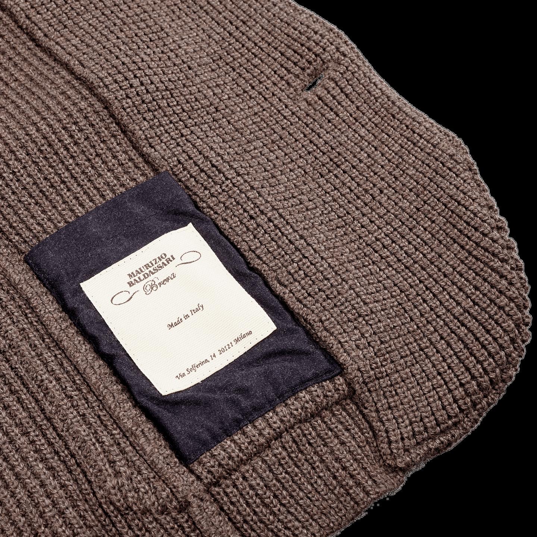 Maurizio Baldassari Brown Heavy Knitted Wool Brenta Jacket Inside