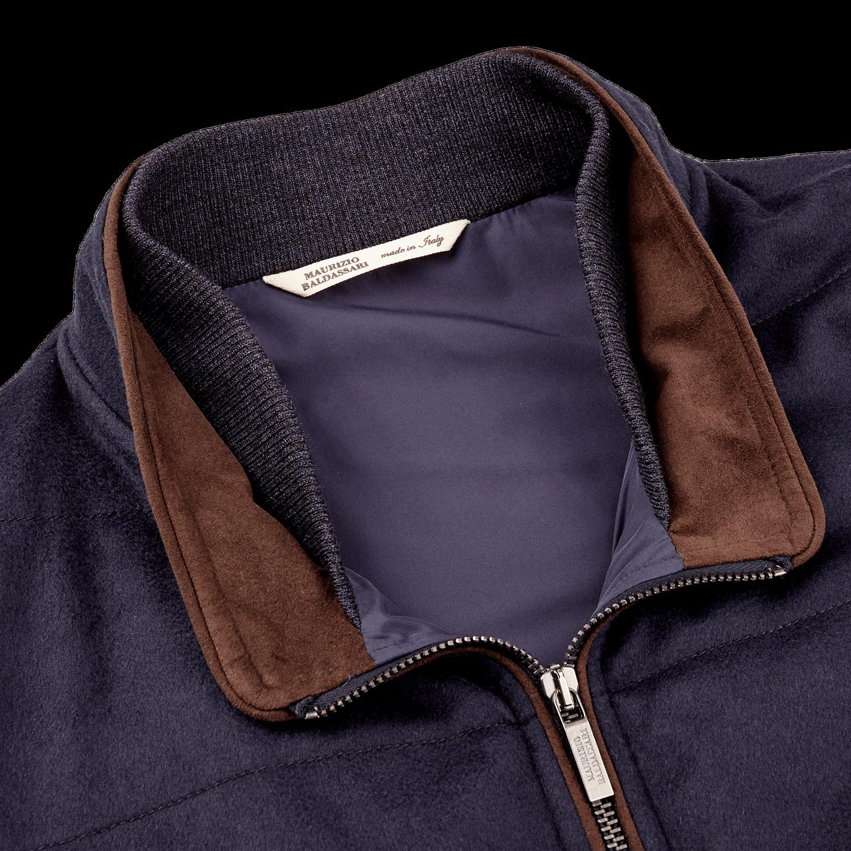 Maurizio Baldassari Royal Blue Cashmere Gilet Collar