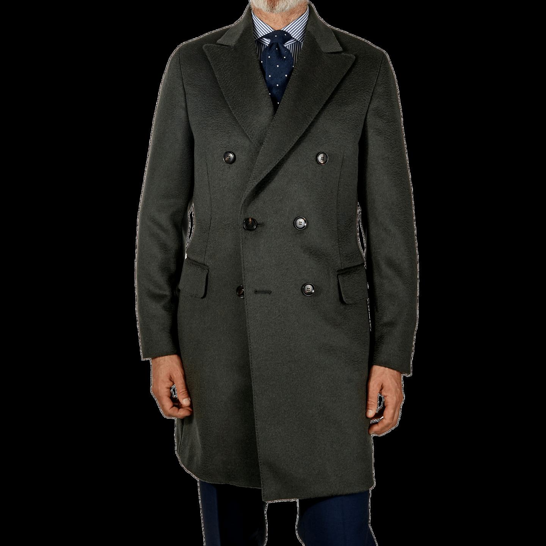 Oscar Jacobson Zink Grey Saul Delux Camelhair Coat Front