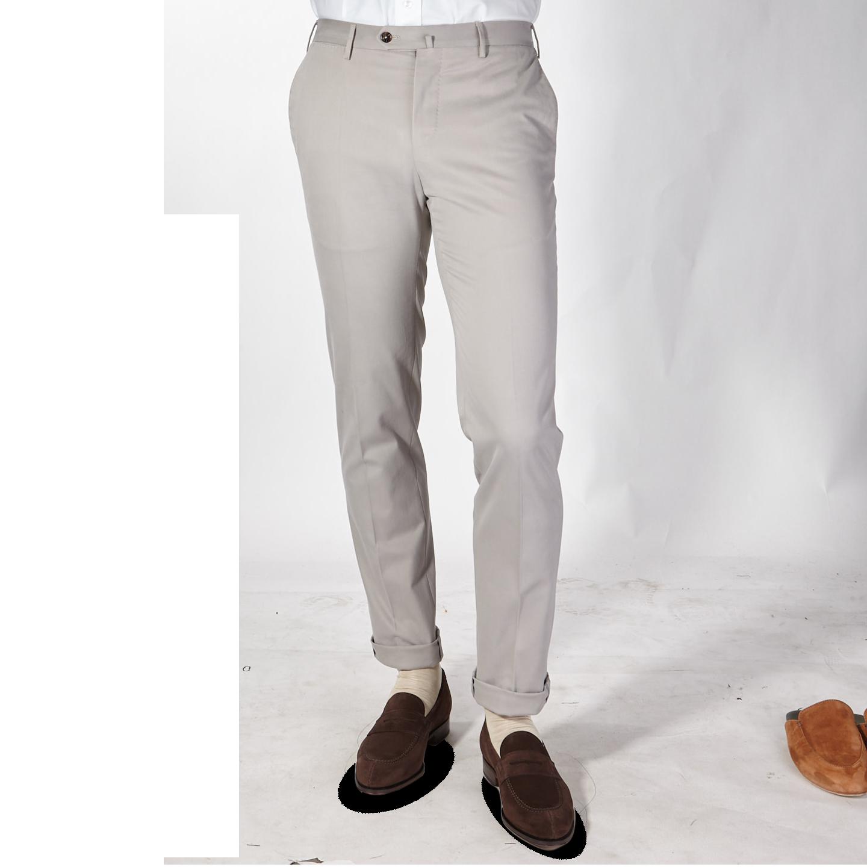 PT01 Beige Cotton Stretch Slim Fit Trousers Front