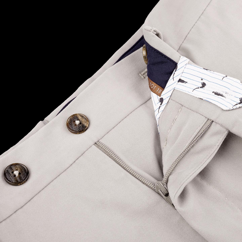PT01 Beige Cotton Stretch Slim Fit Trousers Open
