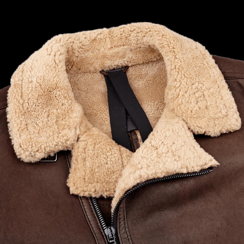 Werner Christ Brown Lambskin Leather Jona Flight Jacket Collar