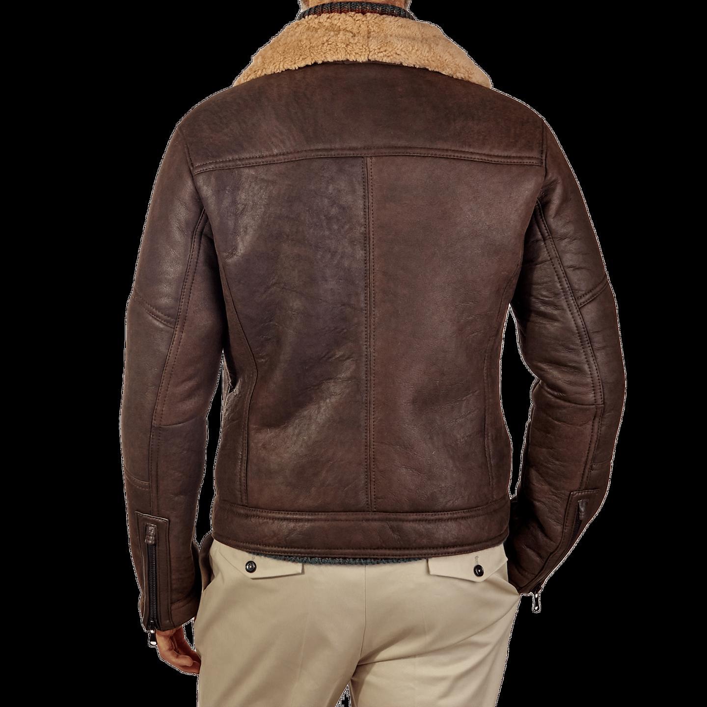 Werner Christ Brown Lambskin Leather Jona Flight Jacket Back