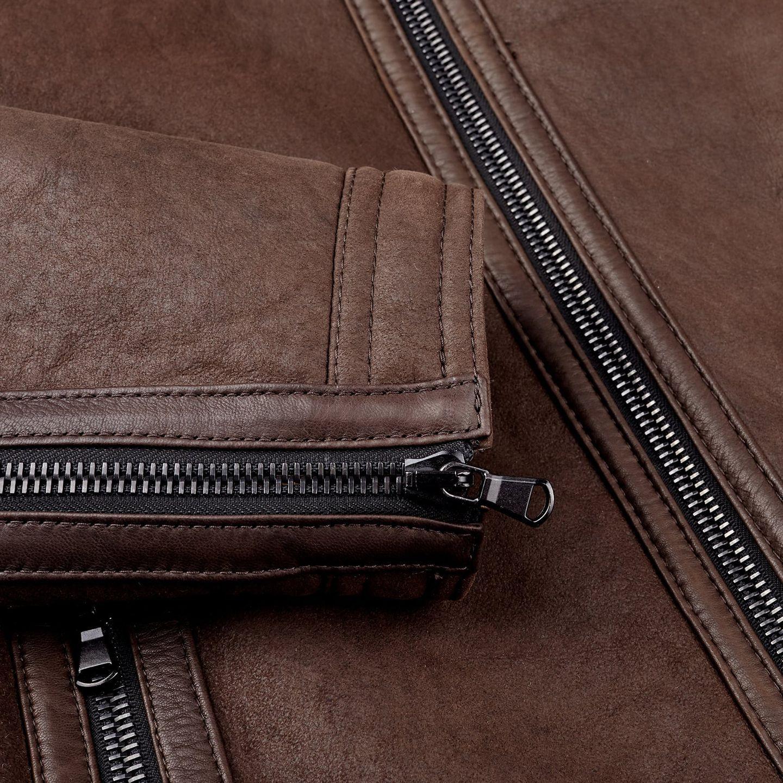 Werner Christ Brown Lambskin Leather Jona Flight Jacket Cuff