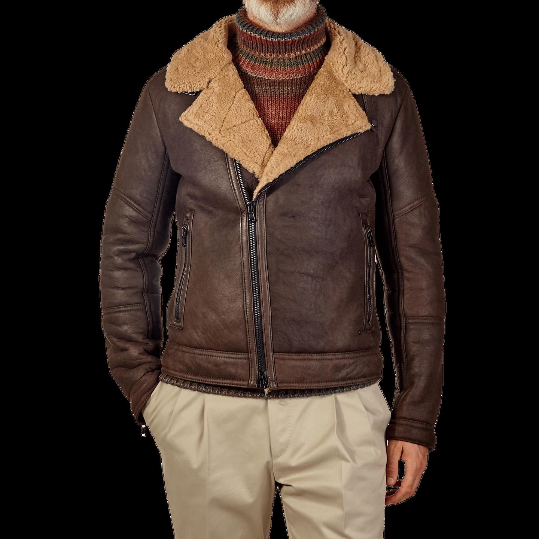 Werner Christ Brown Lambskin Leather Jona Flight Jacket Front