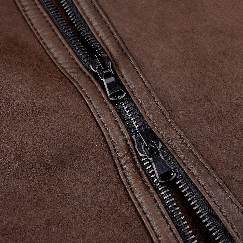 Werner Christ Brown Lambskin Leather Jona Flight Jacket Zipper