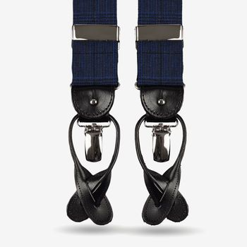 Albert Thurston Blue Checked Fresco Wool Leather Suspenders