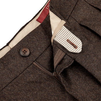 Berwich Brown Flannel Pleated Trousers Zipper