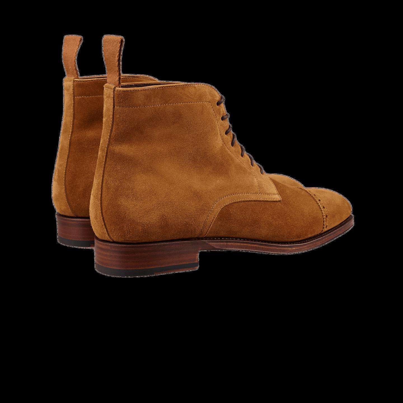 Carmina Tobacco Brown Suede Rain Cap Toe Boots Back