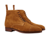 Carmina Tobacco Brown Suede Rain Cap Toe Boots Front