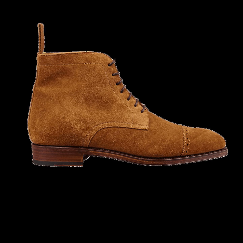 Carmina Tobacco Brown Suede Rain Cap Toe Boots Side