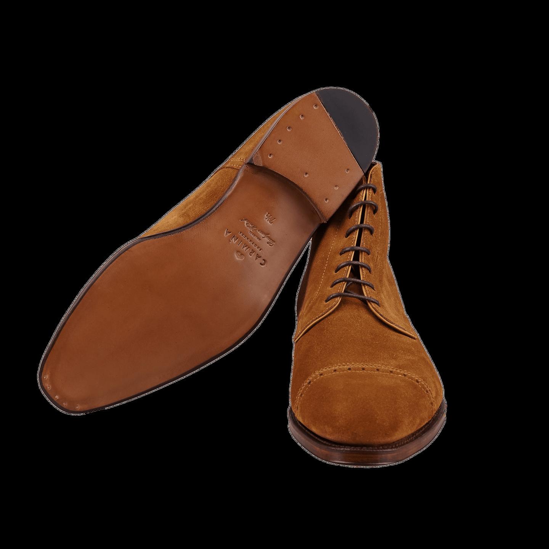 Carmina Tobacco Brown Suede Rain Cap Toe Boots Sole