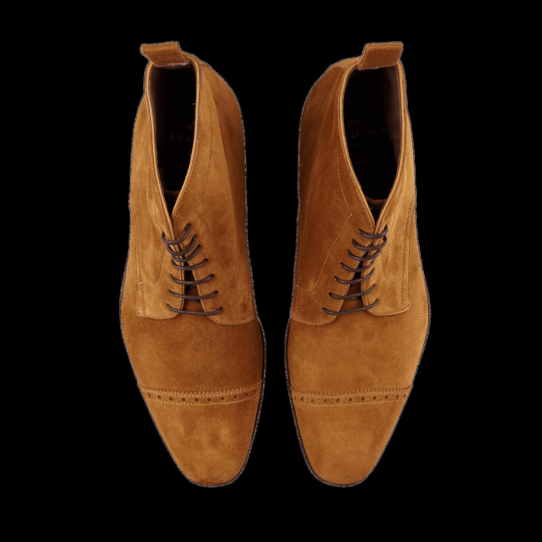 Carmina Tobacco Brown Suede Rain Cap Toe Boots Top