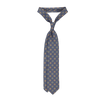 Drake's Blue Printed Medallion Self Tip Silk Tie Feature