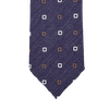 Drake's Blue with White and Brown Squares Silk Linen Tie Tip
