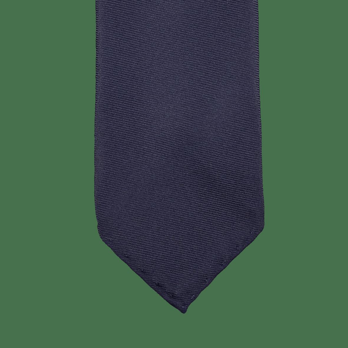 Drake's Navy Woven 50oz Foulard Silk Solid Tie Tip