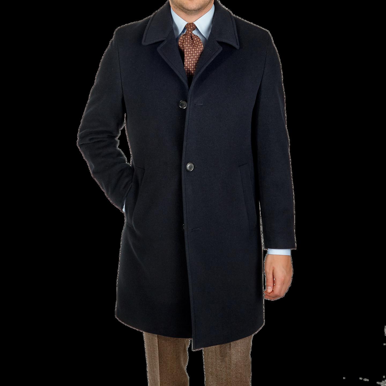 Eduard Dressler Navy Wool Cashmere Coat Front
